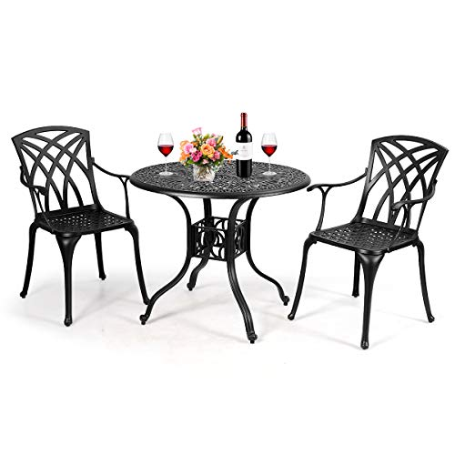 Giantex Bistro Table Set with 2 Chairs, Cast Aluminum Patio Table and Chairs Set, Outdoor Round Dining Table with Umbrella Hole for Yard, Garden, Deck (Black)