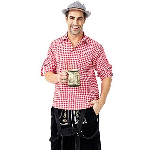 Oktoberfest Daily Trachtenhemd Plaid Shirt Herren Trachten Langarm Retro Shirt (Rot, XXL)