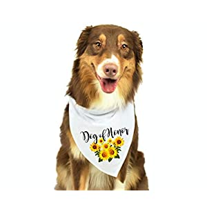 Moonwake Designs- Dog of Honor Bandana, Sunflower Wedding Bandana, Maid of Honor Dog Bandana, Wedding Photo Prop, Pet Scarf, Pet Accessories