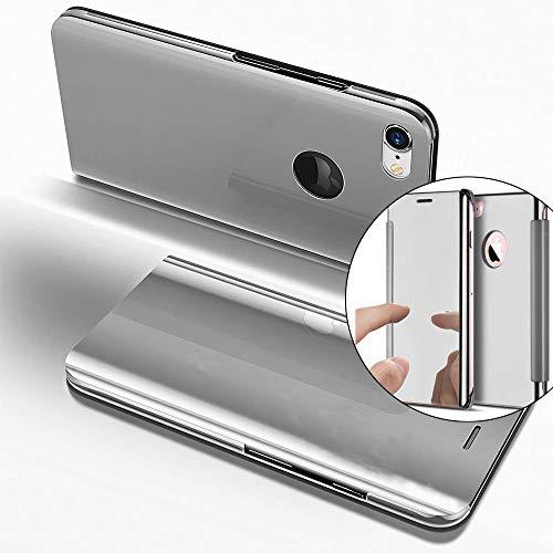 COTDINFOR iPhone 7 Plus Custodia Placcatura Specchio Clear View Standing Cover Slim Mirror Flip Portafoglio Antiurto Case con Funzione Stand per iPhone 7 Plus Mirror PU Silver MX.