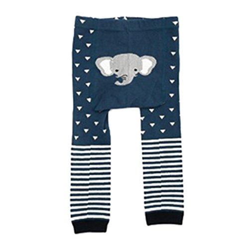 Juleya Collants bébé Collants animaux en coton Neuvième pantalons Leggings pour tout-petits garçon fille Navy Elephant S/0-2 années
