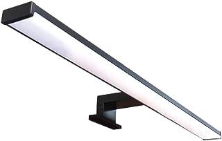 Lámpara de espejo LED para baño VEGA – 60 cm, 12 W, 960 lm, 220 V, 4000 K, negro satinado aluminio, IP44 Clase II, no regulable, instalación de espejo o marco, aplique, luz cálida