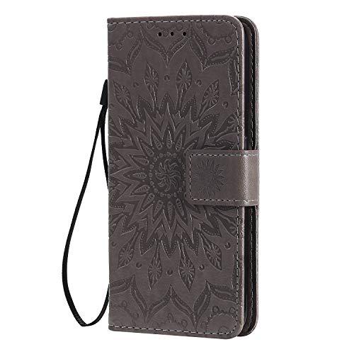 KKEIKO Hülle für Galaxy J4 Core, PU Leder Brieftasche Schutzhülle Klapphülle, Sun Blumen Design Stoßfest HandyHülle für Samsung Galaxy J4 Core - Grau