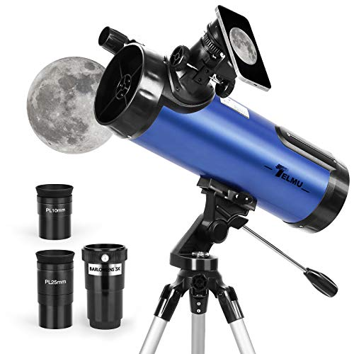 TELMU Telescope for Beginners, 114mm Aperture 500mm AZ Mount Astronomical Reflector Telescope Adjustable(29.9-46.6in) Portable Travel Telescopes with Phone Adapter