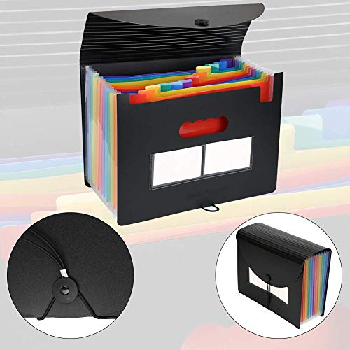 Expanding File Folders 2 Packs/BluePower 12 Pockets A4 Accordion File Organizer/Multicolor Portable Expanding File Box,High Capacity Plastic Accordian File Bag Wallet Briefcase with Colored Tab Photo #3