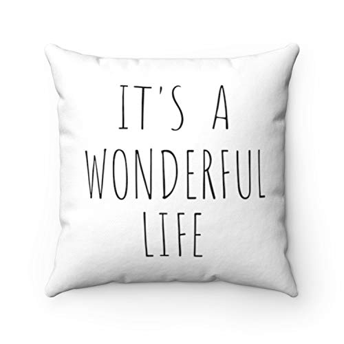 'N/A' 16x16 Inch Christmas Pillow Cover It's a Wonderful Life Christmas Movie Inspirational Quote Black Print Farmhouse Cotton Pillow Case