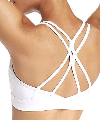 Yaavii Sport BH Starker Halt Gepolstert Push Up Frauen Bustier Atmungsaktiv Bra Top ohne Bügel für Yoga Fitness-Training Weiß S