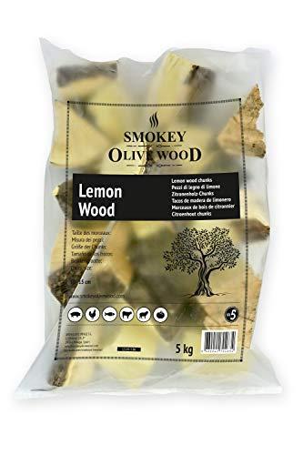 Smokey Olive Wood 5Kg Tacos de Madera de limonero para Barbacoa y ahumar. Talla 5 a 10cm