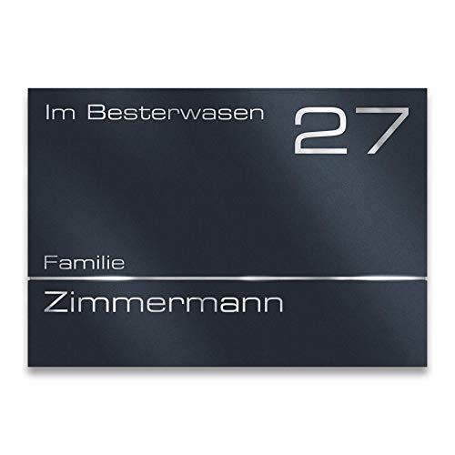 Metzler Moderne Edelstahl Hausnummer in Anthrazit matt (RAL 7016) - Türschild aus Edelstahl - Namensschild