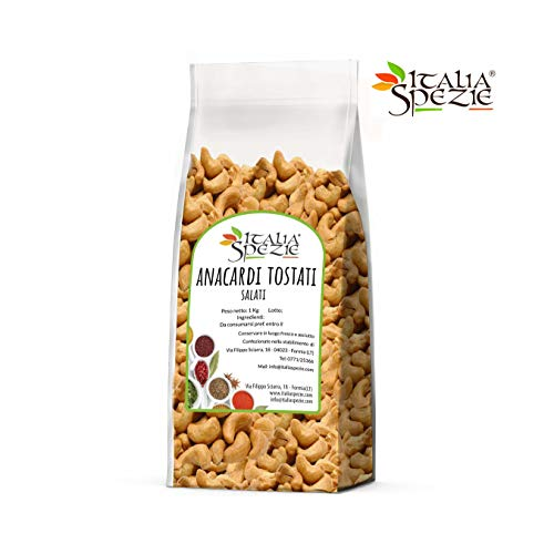 Anacardi Tostati Salati interi 1 Kg, Tostati e Salati, senza conservanti. Anacardi di qualità Extra. Frutta secca di primissima scelta. Italia Spezie