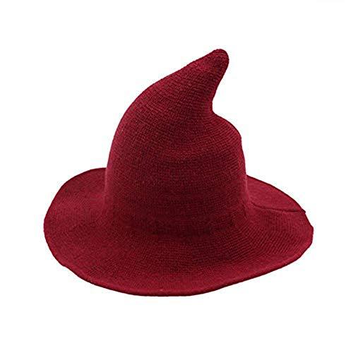 Sombrero Mujer Halloween Sombrero Bruja Grande de Lana Gorro de Punta Plegable Disfraz para Fiesta Cosplay Carnaval Rojo