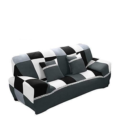 HIFUAR Cubiertas de estiramiento las sillas o sofá, desmontable y lavable, Moderno Sofá Cover 1 Plaza: 90140cm Blanco negro