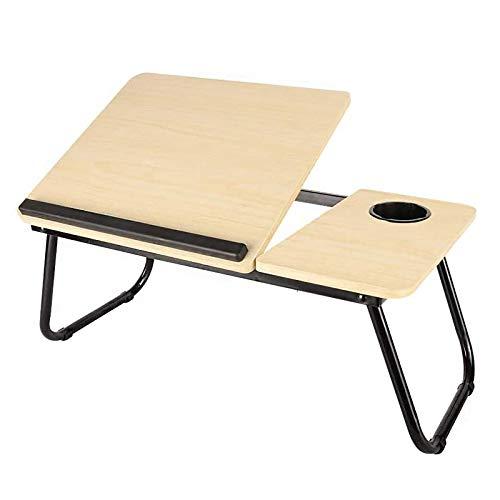 AYYSHOP Mesa Ordenador, Escritorio Plegable Escritorio Ajustable de 5 velocidades, Mesa para computadora portátil con reposamanos Antideslizante y Ranura para Taza para Estudio de Oficina en casa