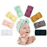 Makone Baby Stirnband, elastisches florales Stirnband mit großem Haarschleifenknoten, 5,5 Zoll, geeignet für Babys 8 Stück