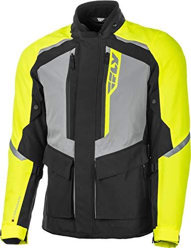FLY Racing Terra Trek Adventure Motorcycle Jacket, Protective Motorcycle Gear with Body Armor (BLACK/HI-VIS 4X, XXXX-Large)
