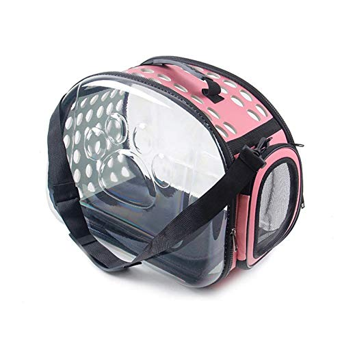 ABCD Portable Travel Pet Handbag Backpack, Breathable Transparent Capsule Handbag, Hard Surface Pet Handbag, Suitable For Kittens And Puppies(S, Pink)