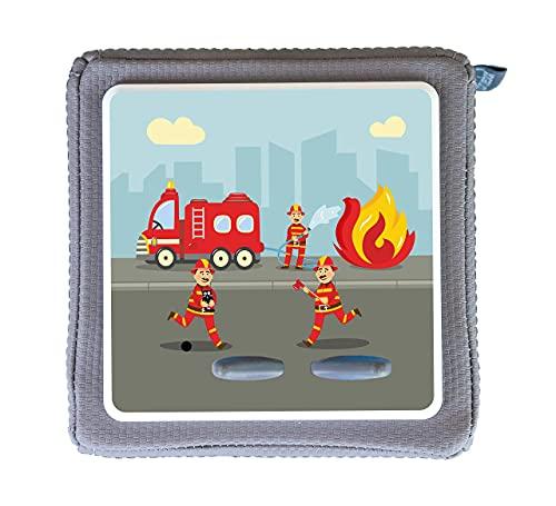 MeinBaby123 Schutzfolie für Toniebox | Schutzcover selbstklebend | Aufkleber passgenau I Folie Sticker I Toniebox Zubehör | Feuerwehr Feuerwehrauto rot