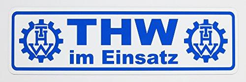 Magnetschild THW im Einsatz | Schild magnetisch | Weiss/blau, lieferbar in DREI Größen (35 x 10 cm)