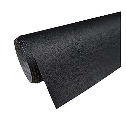 PVC läder tyg Litchi mönster konstläder för soffa reparation sömnad Crafting DIY projekt - 160cm bred (1 stycke = 1m),1#black