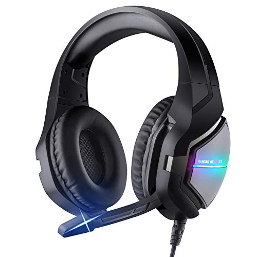 ShinePick Gaming Headset 3.5mm Noise Cancelling Over Ear Headphones Stereo Gaming Headset with Noise Canceling Mic & LED Light, Compatible with PS4, New Xbox One, Nintendo Switch, PC