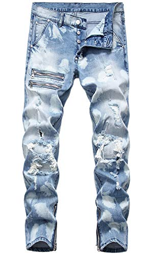 HENGAO Men's Stretch Straight Fit Destroyed Ripped Jeans ,1161 Light Blue, 32