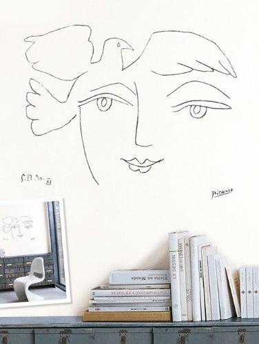Unbekannt Picasso Wandtattoo Das Gesicht des Friedens/Le visage de la paix, Einmalig verwendbarer Siebdruck der Zeichnung von Pablo Picasso, Maße: ca. 40 x 50 cm, zum Aufrubbeln auf die Wand