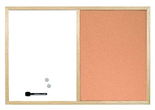 Bi-Office Kombitafel, Magnetische und Korkoberfläche in einem Produkt, Holzrahmen, 40x 30cm 40 x 30 cm
