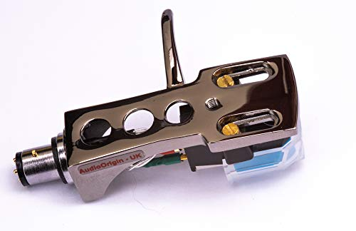 Titanium plated Headshell, mount with cartridge and stylus, needle for Technics SL 3200, SL 3300, SL 3310, SL 3350, SL 5100, SL 5200, SL 5300, SL 5310, SL 5350, MADE IN ENGLAND