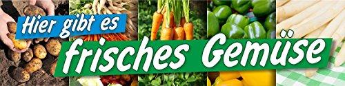 PVC Werbebanner Banner Plane Frisches Gemüse Verkauf Bioladen Hofladen mit Ösen, 2000 x 500 mm