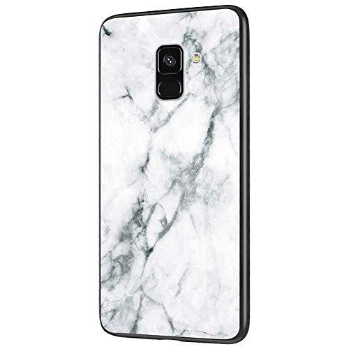 QPOLLY Compatible avec Samsung Galaxy A6 2018 Coque, Brillante Marbre Motif Arrière en Verre Trempé Design Ultra Mince Souple TPU Silicone Bumper Antichoc Anti-Rayures Housse Etui de Protection,Blanc
