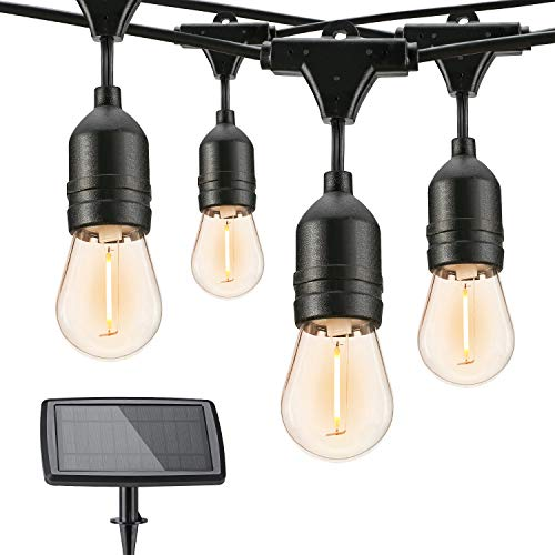 Brizled Solar Outdoor String Lights, 39ft Solar String Lights Waterproof, 16+2 LED S14 Clear Blub String Lights 4 Modes for Patio, Gazebo, Cafe, Pergola, Porch, Party, Indoor Decor(2700K, Warm White)