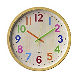 HOIBAI Wall Clock Outdoor Clock 12 inch Large Digital Wall Clocks for Living Room Bedroom Kitchen Children's Room Decor Round Modern Atomic Wall Clock Easy to Read (Color)