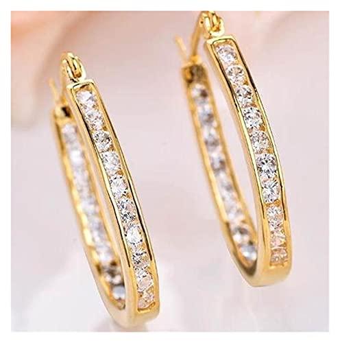 Houren Pendiente de Plata esterlina Forme Hebilla Tridimensional Micro-incrustado Zircon Acero Anti-Faucking Jewelring Pendientes de Oro Brillantes