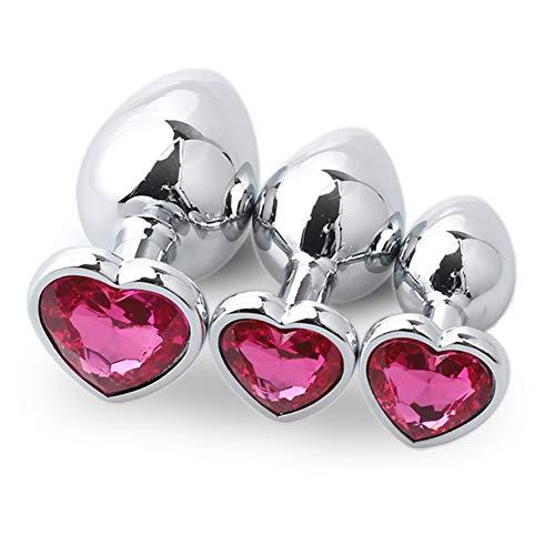 Jewelry meiqi 3 Taille Diamant En Forme De Coeur Amal Plug Massag-er Jouets - Acier Inoxydable Six...