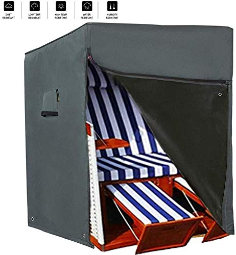 HENTEX Schutzhülle Strandkorb,Strandkorb Schutzhülle,Material mit aktiven Atmen Funktion, 128x105Dx140/165H cm