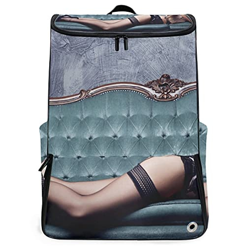 YUDILINSA Viaje Mochila,Hermosa mujer joven posando en lencería sexy,Universitaria Mochila,Laptop Backpack con Compartimento para zapatos