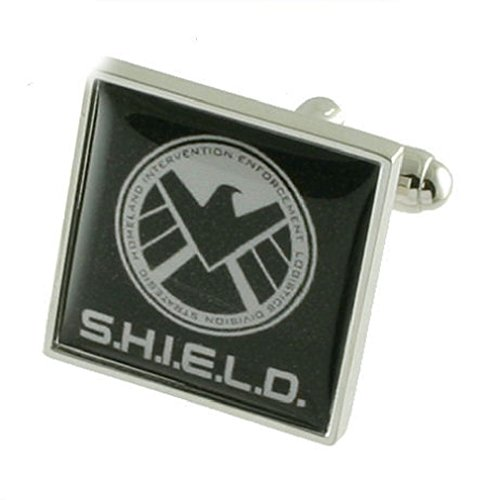 Select Gifts Agent Shield Manschettenknöpfe für Herren Manschettenknöpfe Sterling Silber 925massiv + personalisierte Gravur Box
