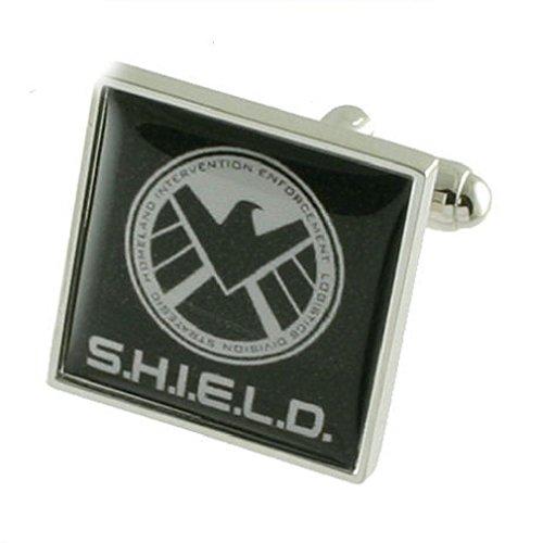 Select Gifts Agent Shield Boutons de manchette pour homme en argent sterling 925 massif Boutons de manchette + Boîte de message gravé personnalisé