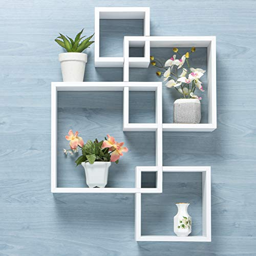 Gatton Design Wall Mounted Floating Shelves | Interlocking Four Cube Design...