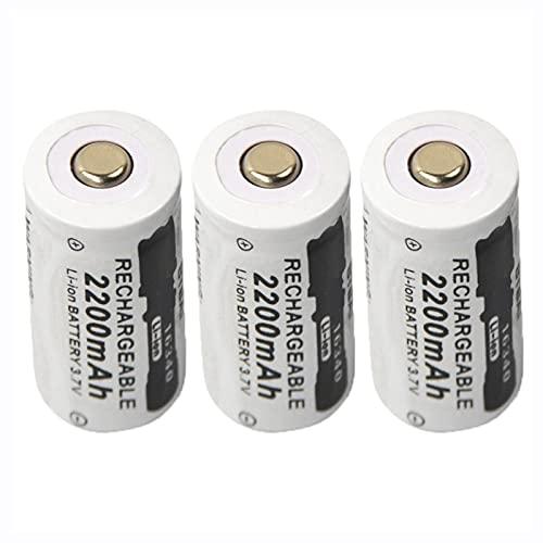 3 Uds 3.7 v 2200 Mah Li-Ion 16340 Cr123a Batería Recargable, para Linterna CáMara Cargador Inteligente Faro Bicicleta Juguete