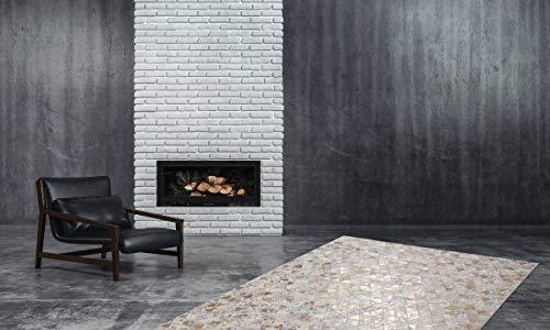 One Couture - Tappeto in 100% pelle, realizzato a mano, motivo patchwork, pelle, avorio, 120 x 170 cm