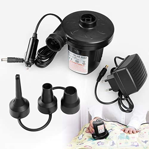 Vitutech Elektrische Luftpumpe,2 in 1 AC 220V-240V/12V Elektropumpe 50W Luftkompressor Schlauchboote Elektropumpe 3 Aufsätze für Home Camping Luftmatratzen,Planschbecken,Schlauchboote Aufblähungen