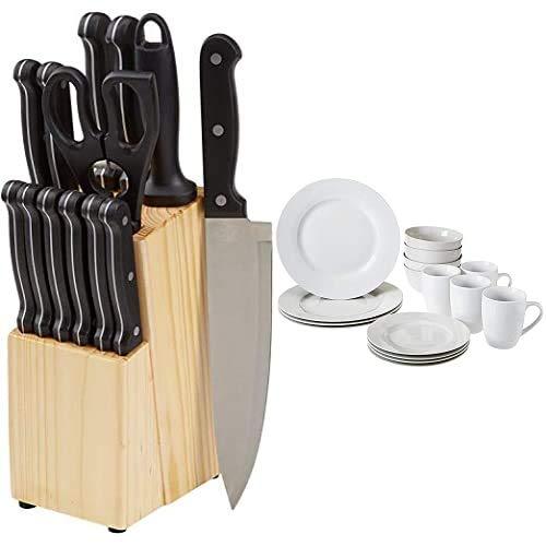 Amazon Basics Juego de cuchillos de cocina y soporte (14 piezas) + Vajilla para 4 personas (16 piezas)