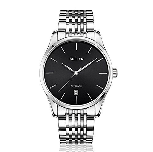 XINLEE Herrenuhr Tourbillon Zeiger zeigt automatische Stahlband Wasserdichte mechanische Uhr, 004
