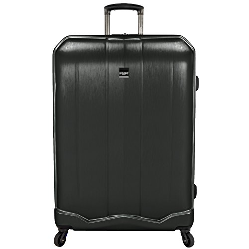 U.S. Traveler Piazza Expandable Spinner Luggage, Black, Checked-Large 30-Inch