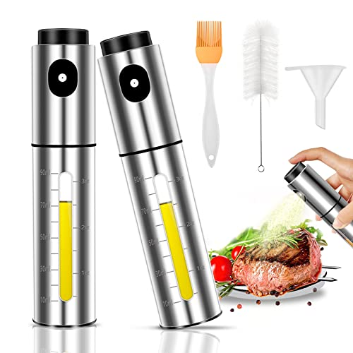 Lauon Oil Sprayer for Cooking,2 Pack Stainless Steel Olive Oil Sprayer for Cooking,100ml Oil Sprayer for Air fryer,Salad,BBQ,Baking,Roasting,Grilling,Kitchen Tool