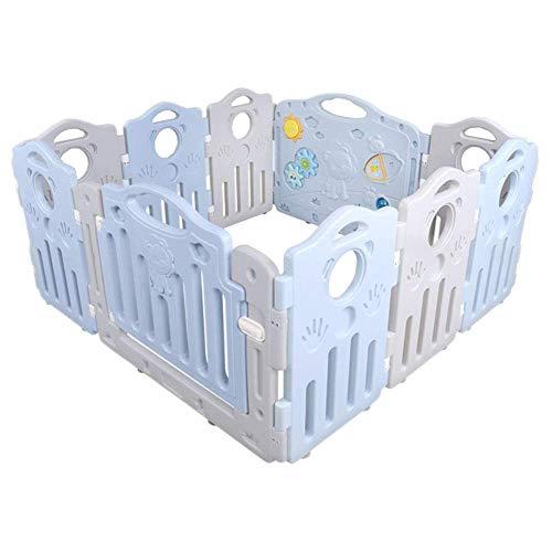 MTBH PMTBHAbnehmbarer Laufstall, 10-Panel-Kunststoff-Baby mit Aktivitätsplatte pädagogisches Spielzeug Raumteiler Sicherheit Spielplatz Familie Innenraum Perimeter Zaun
