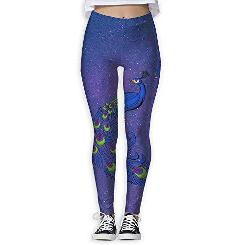 QIAOJIE Peacock Clipart Women's Full-Length Yoga Workout Leggings Thin Capris