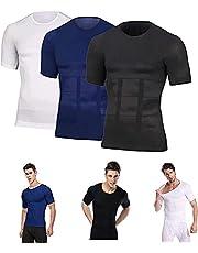 2-delig SecondSkin Heren Shaper Verkoelend T-shirt, Heren Shaper Afslankend Compressie T-shirt, Voor Sport En Fitness Hardlopen