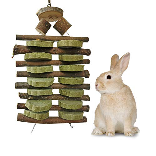 Bunny Chew Toys for Teeth, Organic Apple Wood Sticks for Bunny, Rabbits, Chinchilla, Guinea Pigs, Hamsters, Parrots and Other Small Animals Chewing/Playing, Pet Snacks Toys with Grass Cake